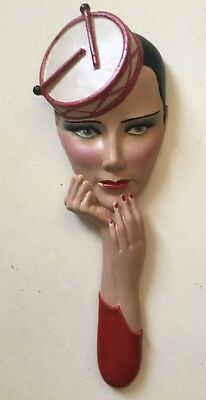 deco style wall mask plaque, lady in drum hat chalkware reproduction