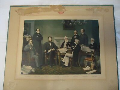 "Antique engraving ""Abraham Lincoln's Cabinet"" 17"" X 13 3/4"""
