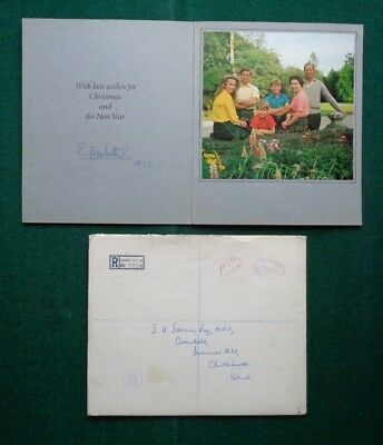 Queen Elizabeth II Individually Signed Christmas Card Royal Family 1972 Envelope