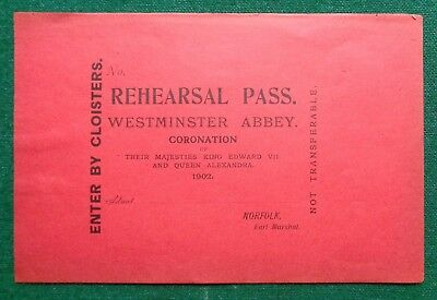 Antique Paper Invitation Ticket Coronation King Edward VII Red Rehearsal Pass