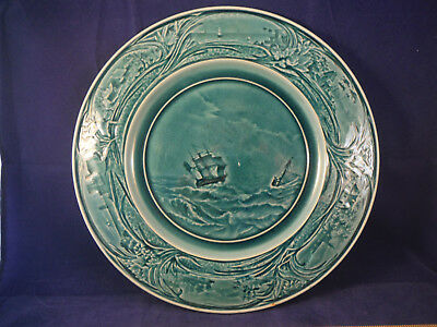 Antique Chiosy-le-Roi Majolica Faience Pottery Plate - Sailing Ships Motif