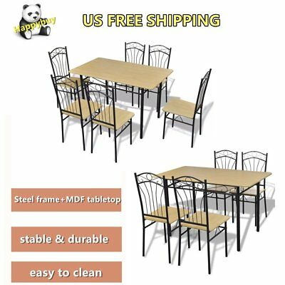 5 / 7 Piece Table Chairs Dining Set MDF Tabletop Breakfast Kitchen Furniture Hot