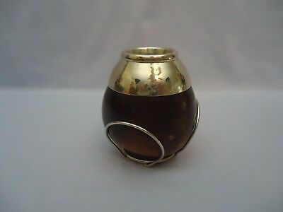 Carved Gourd Yerba Mate Tea Drinking Cup with Silver Tone Metal Stand