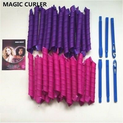 18Pcs 55cm/ 2.5 Magic Curlers Spiral Ringlets Leverage Rollers Hair styling tool