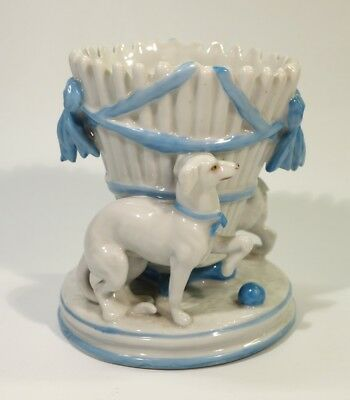 19th Century Antique Porcelain Vase Mounted with Dogs.