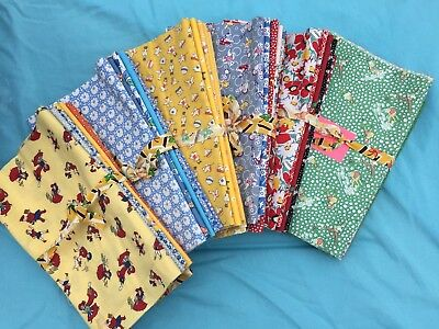 1930s Vintage Repo YELLOW GREEN RED BLUE- Flour Sack Fabric 1/4 yard 6 pack