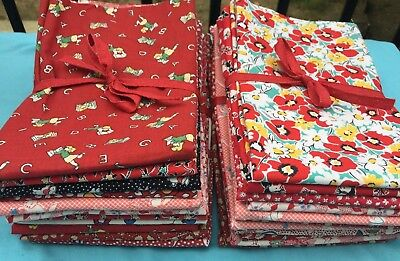 1930s Vintage Reproduction RED Assortment- Flour Sack Fabric 1/2 yard 6 pack