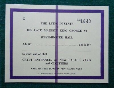 Antique Ticket for Lady-in-Waiting Queen Elizabeth Death of King George VI 1952