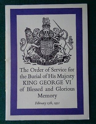 Antique Order of Service Burial Death of King George VI 1952 Lady-in-Waiting ER
