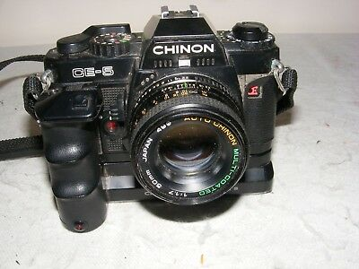 VINTAGE PHOTOGRAPHY CHINON CE 5 CAMERA POWER WINDER S 50 mm LENS MANUAL PW
