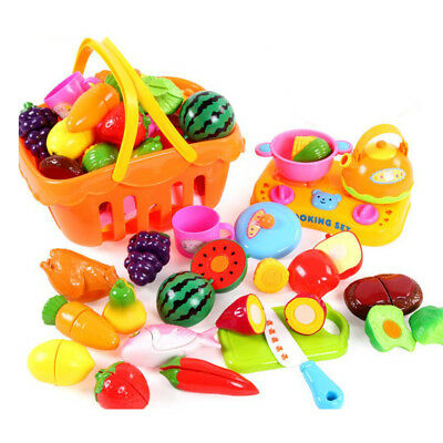 Kids Fruits Vegetable Food Basket Pretend Play Food Cutting Toy Gift 21pcs
