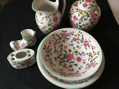 Old Foley Staffordshire England James Kent Chinese Rose 6 Piece Collection