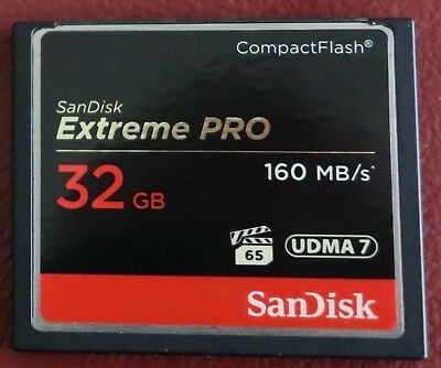 SanDisk Extreme Pro Compact Flash CF 32GB Card UDMA 7 160 MB/s, Only used twice