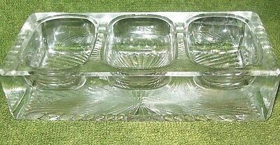 Vintage Desk Accessory Heavy Glass 3-Hole Divided Clip Holder