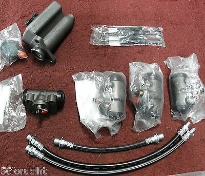 1939-41 1942-48 FORD CAR Master Cylinder, 4 Wheel Cylinders, 3 Hoses, 4 Springs