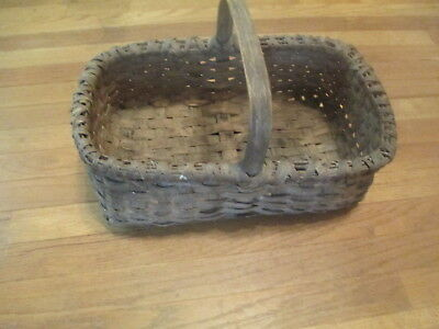 "Antique Willow Gathering Basket with Handle Good Condition 11"" x 17"" 6"" Deep"