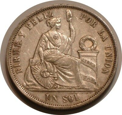 1866 Silver un sol of Peru Full DETAIL with LUSTER