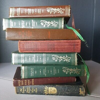 Lot of 8 Antique Books Leather Gold Guilding RED, brown, green, blue