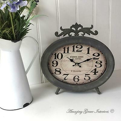 Large Antique Vintage Style French Grey Metal Mantel Clock Standing Shabby Chic