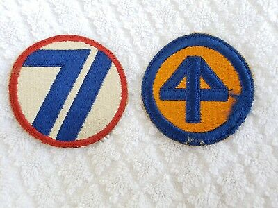 Original Vintage WW II 44th & 71st Infantry Division Shoulder Patches