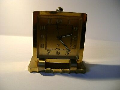 Vintage Lecoultre 2 Day Desk / Alarm Clock Standing On A Heavy Brass Foot In Gwo