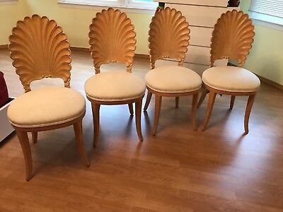 Dining Chairs Grotto Italian Carved Wood Seashell Shell Back Dining Set Chair