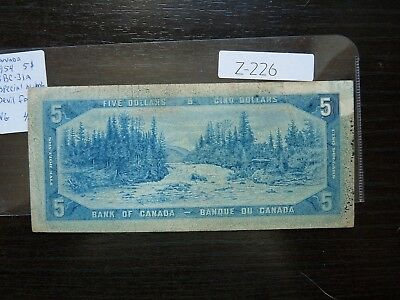 Banknote Canada 1954  5  Dollar Devil Face  Cat Value 45.00 Special Number  Z226