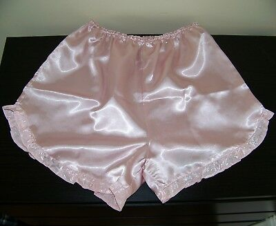 Absolutely Stunning Ultra Femme Glossy Pink Satin French Knickers.large Size.