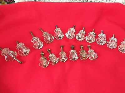 Lot of 17 vtg. matching crystal glass cabinet knobs drawer pulls with Hardware