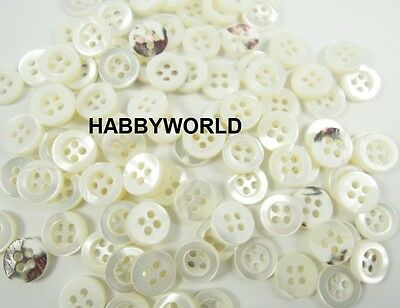 Mother Of Pearl MOP Real Shell 10mm Buttons Ivory White Sewing Shirt Button
