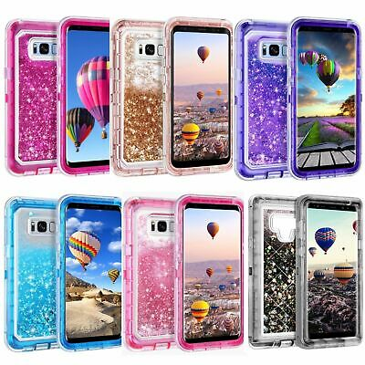 Samsung Galaxy S8 S9 Plus Note 8 Liquid Glitter Defender Case Clip Fits Otterbox