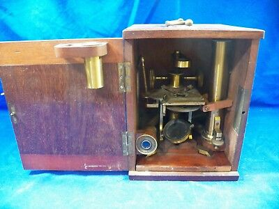 Vintage Brass Microscope with Wooden Carrying Box - 2 Eye & Objective Pieces