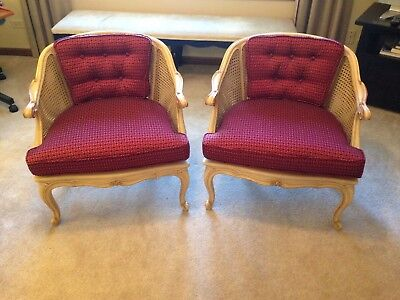 Pair Antique Classic French Louis Xv White Dbl Cane Barrel Back Bergere Chairs