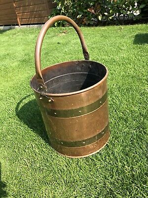 Unusual Antique Vintage Brass Copper Coal Bucket Fireside Scuttle