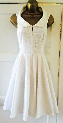 a06e905c629 Karen Millen White Broderie Anglaise Fit And Flare Summer Occasion Dress  Size 10