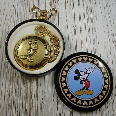 Disney Mickey Mouse Gold Tone Verichron Quartz Pocket Watch with Metal Case