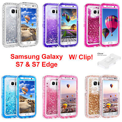 Liquid Glitter Defender Case For Samsung Galaxy S7 S7 Edge {Clip Fits Otterbox}