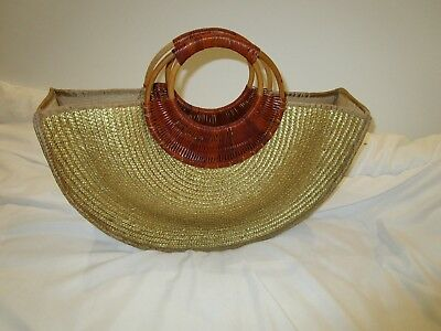 Vintage Dents wheat straw tote like bag