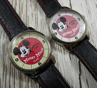 Mickey Mouse Club Member 1955 Disney Special Edition Lot of 2 Wristwatches