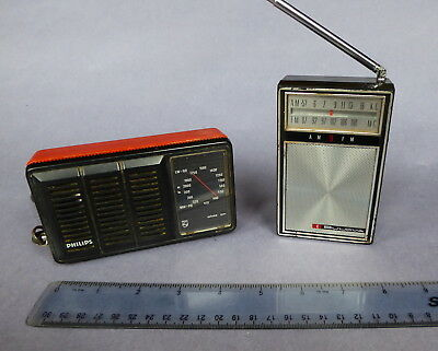 Bulova and Philips, small vintage transistor radios for repair.