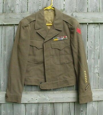 """WWII US ARMY 5TH DIVISION ETO UNIFORM """"IKE"""" JACKET with TIE"""