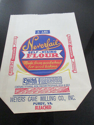 Vintage Advertising~Weyers Cave Milling Co.~Neverfail Self Rising Flour Bag