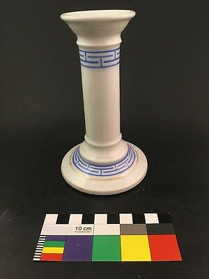 Old Paris French Porcelain Candlestick Roman Key Greek Revival Candle Holder