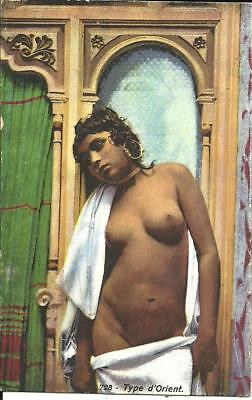 TYPE D'ORIENT - SEMI NAKED YOUNG WOMAN (COLOUR PRINTED POSTCARD) c1920