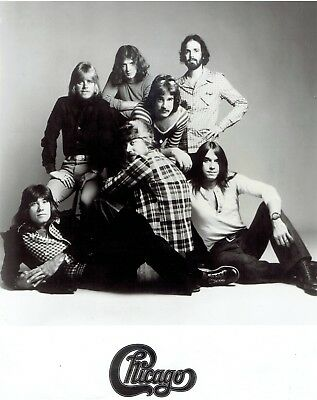 "1973 Vintage Photo American rock band ""Chicago"" members posing in studio set"
