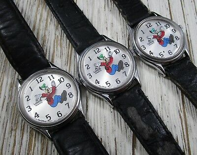 Lorus Disney Wristwatch Lot of 3 Disney Backwards Goofy Run