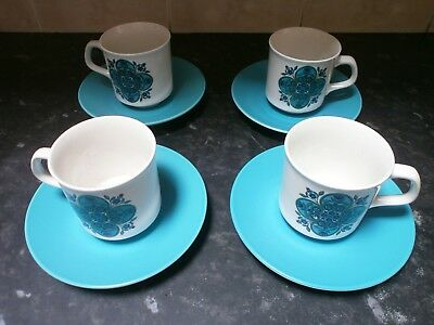 1960's J & G Meakin Studio Impact Coffee Cups And Saucers Set, Jessie Tait