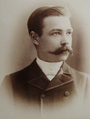 Cabinet Photo Portrait Handsome Dapper Young Man With Nice Mustache Chicago Ill