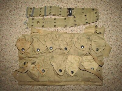 Us Wwi Vb Grenade Pouch, Geo. A. Ide & Co., June, 1918, And Wwii Pistol Belt.