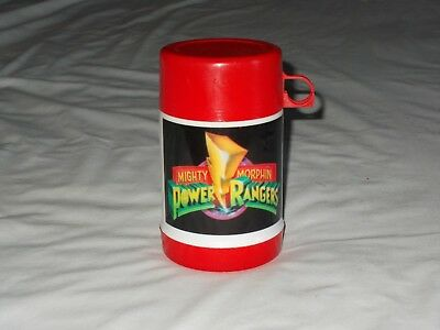 Vintage Mighty Morphin Power Rangers Thermos Red White Black Wide Mouth MMPR